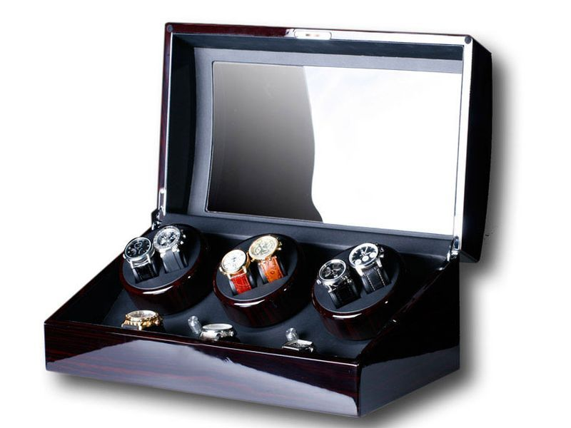 uhrenbeweger swing 6 7 uhren wurzelholz neu watch winder watchwinder new ebay. Black Bedroom Furniture Sets. Home Design Ideas