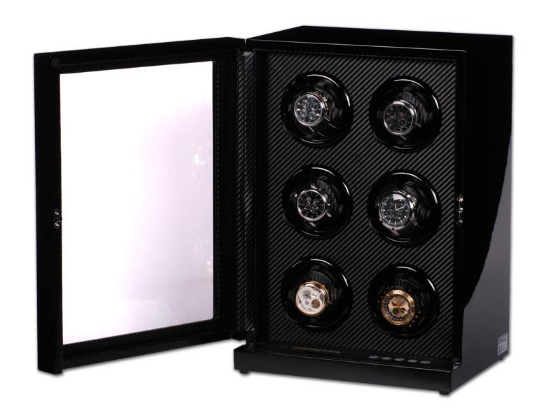 uhrenbeweger art d co carbon klavierlack f r 6 uhren watchwinder neu ebay. Black Bedroom Furniture Sets. Home Design Ideas