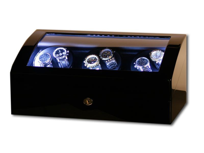 uhrenbeweger f r 6 uhren klavierlack schwarz led 2 wahl watch winder ebay. Black Bedroom Furniture Sets. Home Design Ideas